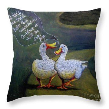Two Ducks-a-walking Throw Pillow by Anne Havard