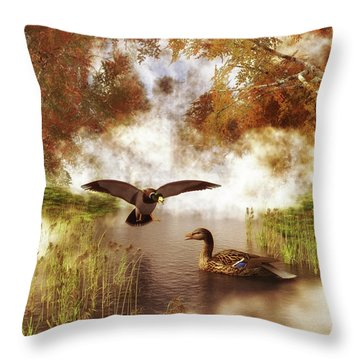 Two Ducks In A Pond Throw Pillow