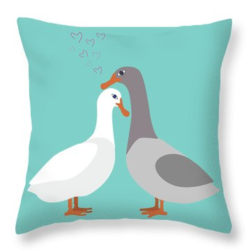 Two Ducks In Love Throw Pillow