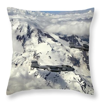 Two Ea-6b Prowlers Fly In Formation Throw Pillow by Stocktrek Images