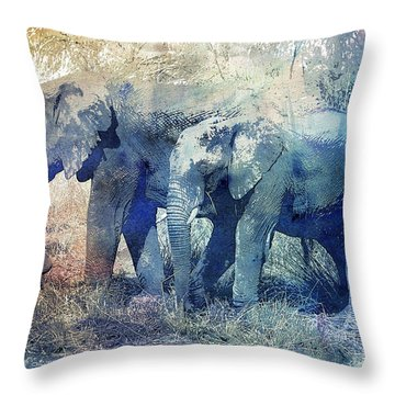 Two Elephants Throw Pillow