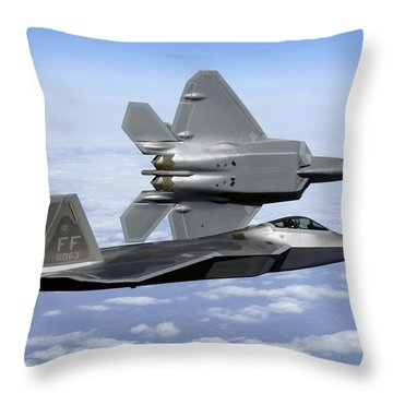 Throw Pillow featuring the photograph Two F-22a Raptors In Flight by Stocktrek Images