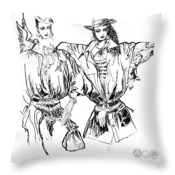 Two Fashion Girls Throw Pillow