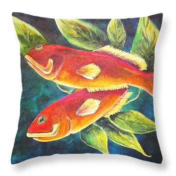 Two Fish Throw Pillow by Patricia Piffath
