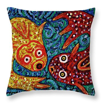Two Fish Throw Pillow by Sarah Loft