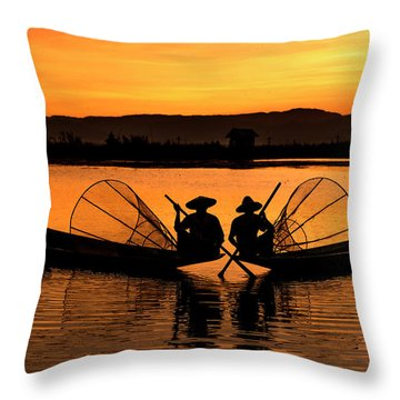 Throw Pillow featuring the photograph Two Fisherman At Sunset by Pradeep Raja Prints