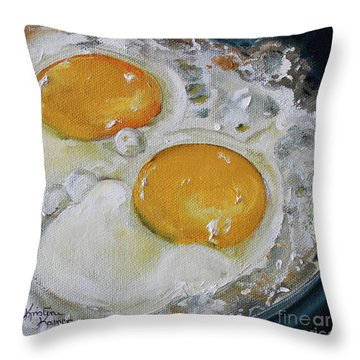 Two Frying Eggs Throw Pillow
