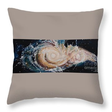 Two Galaxies Colliding Throw Pillow
