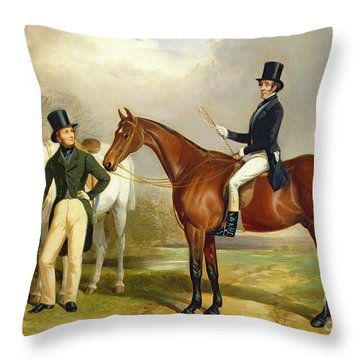 Two Gentlemen Out Hunting  Throw Pillow