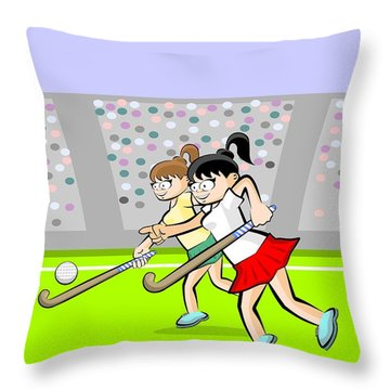 Two Girls Playing Grass Hockey In An Exciting Game In A Stadium  Throw Pillow