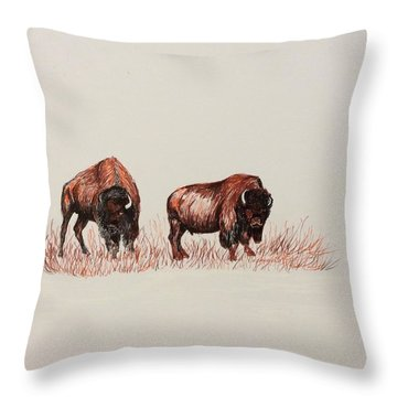 Two Grumpy Bisons  Throw Pillow by Ellen Canfield