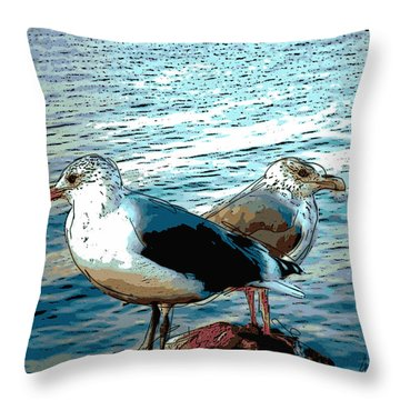 Two Gulls Throw Pillow by Ann Tracy