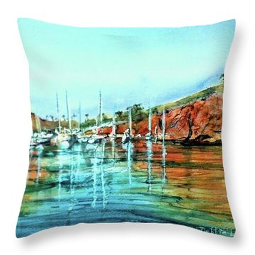 Two Harbors Catalina Morning Impressions Throw Pillow