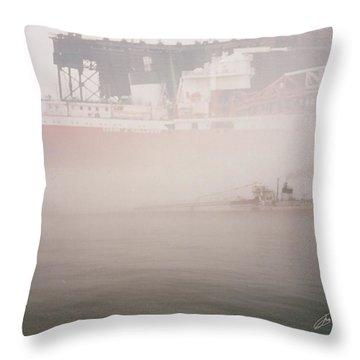 Two Harbors Fog Ship II Throw Pillow
