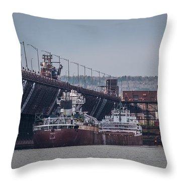 Two Harbors Ore Docks Throw Pillow