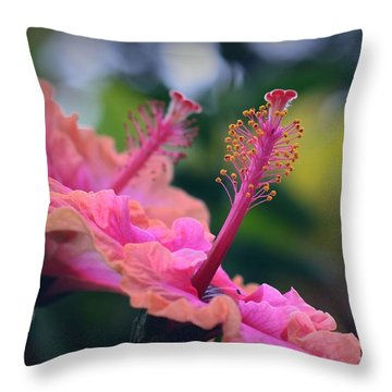 Two Hibiscus Throw Pillow