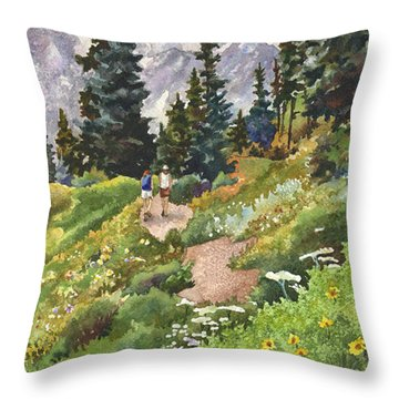 Two Hikers Throw Pillow by Anne Gifford