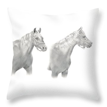 Throw Pillow featuring the drawing Two Horse Study by Elizabeth Lock