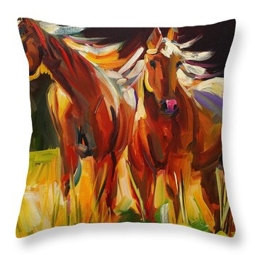 Two Horse Town Throw Pillow