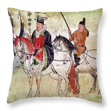 Two Horsemen In A Landscape Throw Pillow by Chinese School