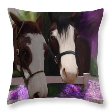 Two Horses And Purple Flowers Throw Pillow