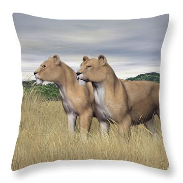 Two Hunters Throw Pillow