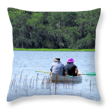 Two In A Canoe Throw Pillow by Rosalie Scanlon