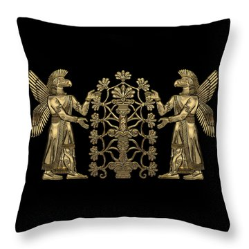 Two Instances Of Gold God Ninurta With Tree Of Life Over Black Canvas Throw Pillow