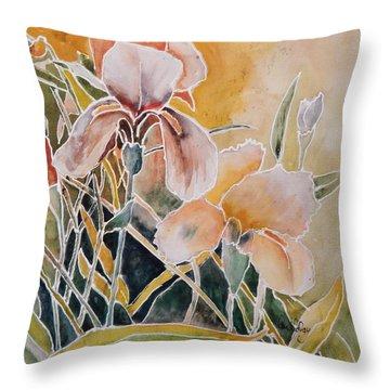Two Irises Throw Pillow
