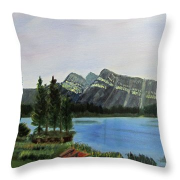 Throw Pillow featuring the painting Two Jack Lake by Linda Feinberg