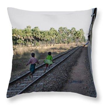 Two Kids Run Along And Follow Train In Burma Throw Pillow
