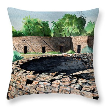 Two Kivas Aztec Ruins Throw Pillow