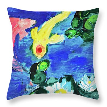 Two Koi Fish In A Lily Pond Throw Pillow