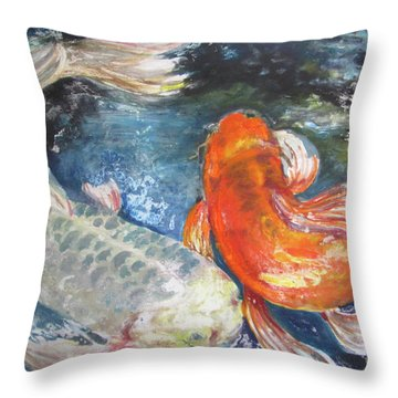 Two Koi Throw Pillow by Susan Herbst