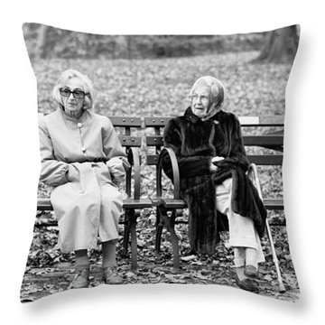 Two Ladies On Bench Throw Pillow