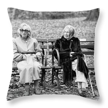 Throw Pillow featuring the photograph Two Ladies On Bench by Dave Beckerman