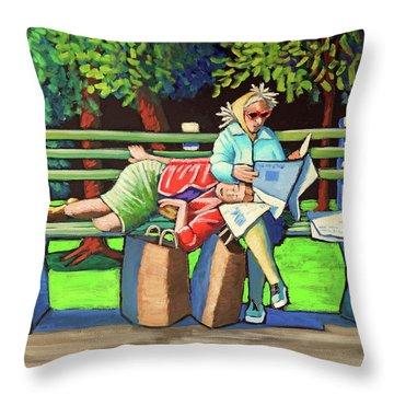 Two Ladies On Bench Throw Pillow