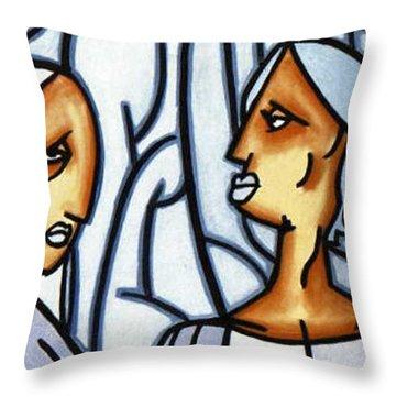 Two Ladies Throw Pillow