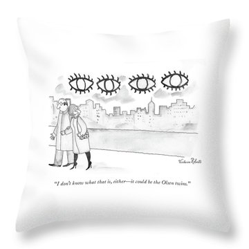 Two Large Sets Of Eyes Loom Over City Skyline. Throw Pillow