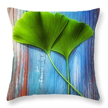 Two Leaves Of Ginkgo Biloba Throw Pillow