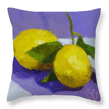 Two Lemons Throw Pillow by Susan Woodward