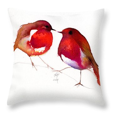 Two Little Birds Throw Pillow by Nancy Moniz