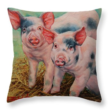 Two Little Pigs  Throw Pillow