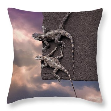 Two Lizards On The Edge Of The Roof Throw Pillow