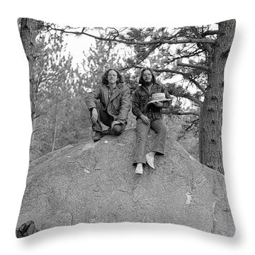 Two Men On A Boulder In The American West, 1972 Throw Pillow
