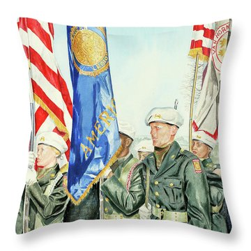 Two Months After 9-11  Veteran's Day 2001 Throw Pillow by Carolyn Coffey Wallace