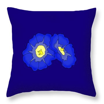Two Morning Glories Throw Pillow