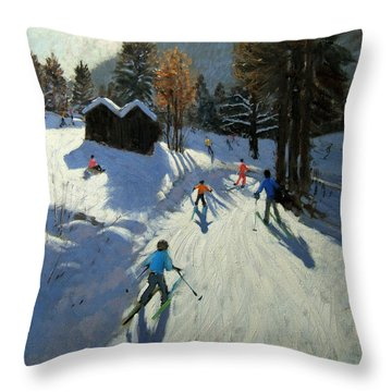 Two Mountain Huts Throw Pillow by Andrew Macara
