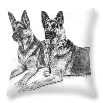 Two Of A Kind - German Shepherd Dogs Print Throw Pillow