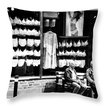 Throw Pillow featuring the photograph Two Old Men And Lingerie by Karen Stahlros